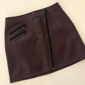 NWT Express Maroon Vegan Leather Zipper Skirt
